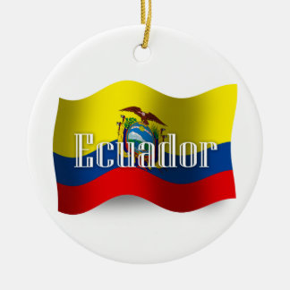 エクアドルの振る旗 セラミックオーナメント