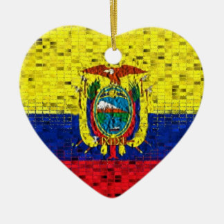エクアドルの旗のグリッターのオーナメント セラミックオーナメント