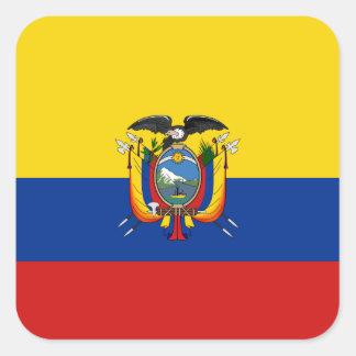 エクアドルの旗のステッカー スクエアシール