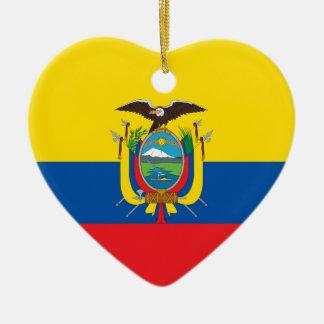 エクアドルの旗のハートのオーナメント セラミックオーナメント