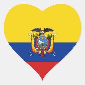 エクアドルの旗のハートのステッカー ハートシール