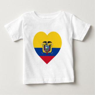 エクアドルの旗のハート ベビーTシャツ
