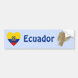 エクアドルの旗のハート + 地図のバンパーステッカー バンパーステッカー