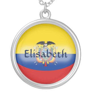 エクアドルの旗 + 一流のネックレス シルバープレートネックレス