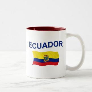 エクアドルの波状の旗 ツートーンマグカップ