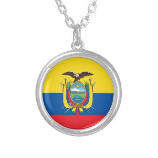 エクアドル- Bandera deエクアドルの旗 シルバープレートネックレス