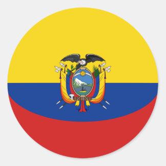 エクアドルFisheyeの旗のステッカー ラウンドシール