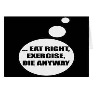 エクササイズの話すTシャツのギフトを正しく食べて下さい カード