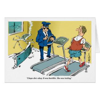 エクササイズの間の漫画のトレッドミルの事故 カード