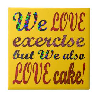 エクササイズ、愛、ハート、ケーキ タイル