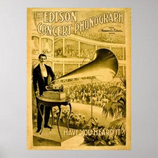エジソンコンサートのレコードプレーヤーのヴィンテージ広告 ポスター