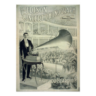 エジソンコンサートのレコードプレーヤー ポスター