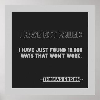 エジソン10,000の方法勇気付けられるのタイポグラフィの引用文 ポスター