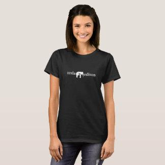 エジソン-レディース暗闇のティーより素晴らしいTesla Tシャツ