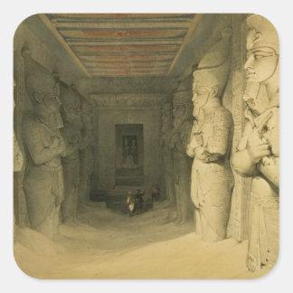 """""""エジプトからのAbu Simbelの寺院のインテリア、 スクエアシール"""