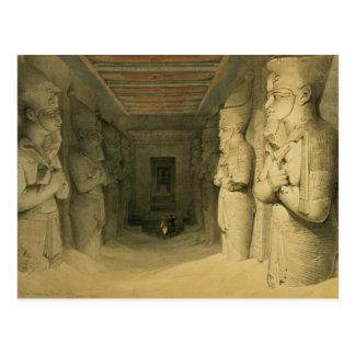 """""""エジプトからのAbu Simbelの寺院のインテリア、 ポストカード"""