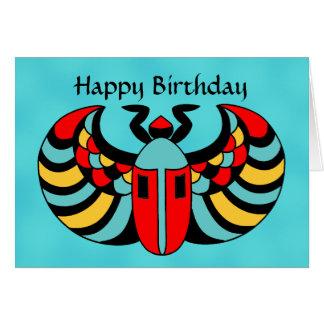 エジプトのカラフルで鮮やかなオオタマオシコガネのカブトムシの誕生日 カード
