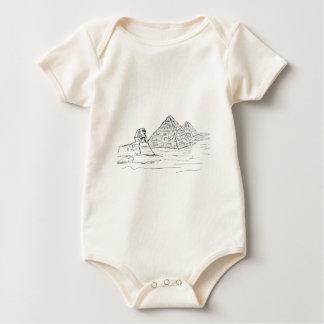 エジプトのスフィンクスそしてピラミッド ベビーボディスーツ
