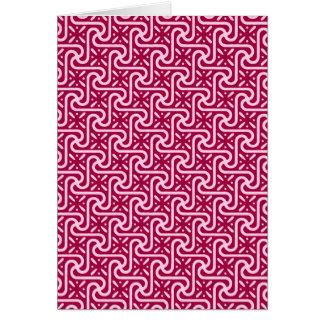 エジプトのタイルのパターン、バーガンディおよびピンク カード