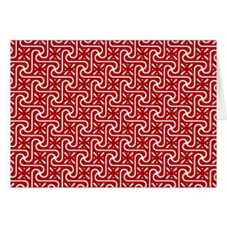 エジプトのタイルパターン、えんじ色および白い カード