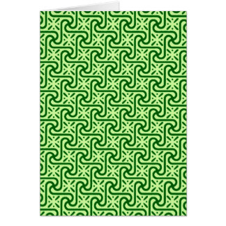 エジプトのタイルパターン、エメラルドおよびライムグリーン カード