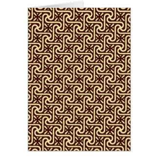 エジプトのタイルパターン、チョコレート色および黄褐色 カード