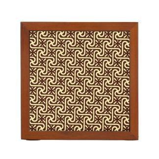 エジプトのタイルパターン、チョコレート色および黄褐色 ペンスタンド