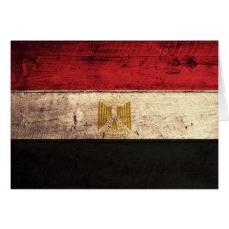 エジプトの古い木の旗 カード
