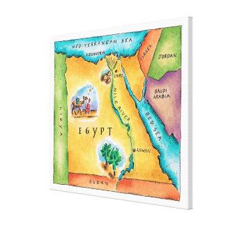エジプトの地図 キャンバスプリント