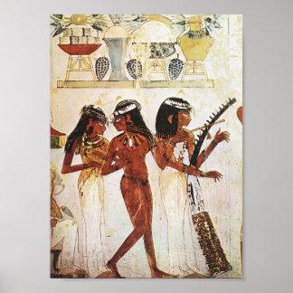 エジプトの女性のミュージシャンの郵便はがき ポスター