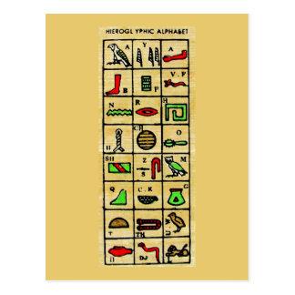 エジプトの象形文字、アルファベットの記号 ポストカード
