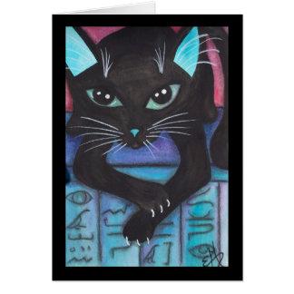 エジプトの靭皮繊維の黒猫 カード