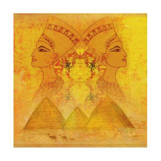エジプトのCleopatra女王木キャンバス ウッドウォールアート