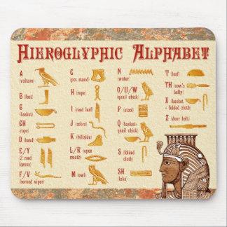 エジプトのHieroglyphicアルファベットの図表 マウスパッド