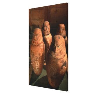 エジプトはAbuで、第26王朝のカノプス壺見つけました キャンバスプリント