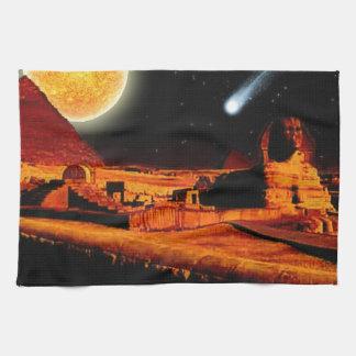 エジプト人のギーザのピラミッドの芸術のギフト上のスフィンクス及び月 キッチンタオル