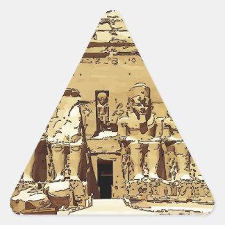 エジプト人のAbu Simbelの寺院 三角形シール