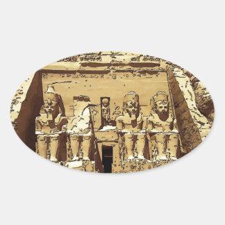 エジプト人のAbu Simbelの寺院 楕円形シール