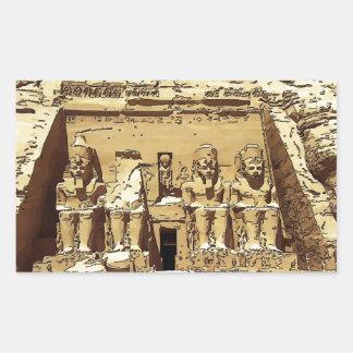 エジプト人のAbu Simbelの寺院 長方形シール