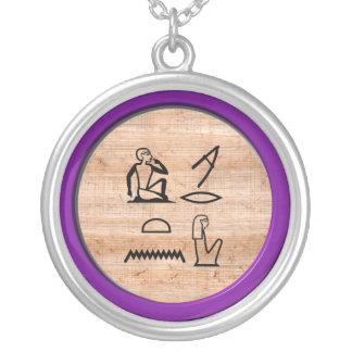 """エジプト人""""私はアメジストの"""" (女性への女性)愛します シルバープレートネックレス"""