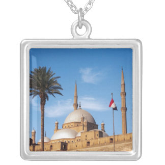 エジプト、カイロの砦、ムハマドアリのモスク シルバープレートネックレス