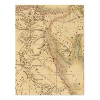 エジプト、パレスチナおよびアラビア地図 ポストカード