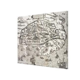 エジプト、c.1625 (版木、銅版、版画のアレキサンドリアの町の地図 キャンバスプリント