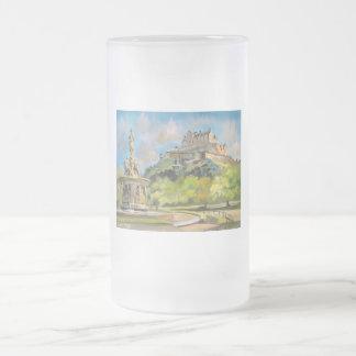 エジンバラの城の油絵のゴードンブルースの芸術 フロストグラスビールジョッキ