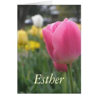 エスターの女の子の一流のチューリップの挨拶状 カード