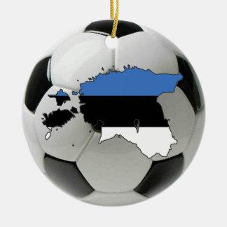 エストニアのフットボールのサッカーのオーナメント 陶器製丸型オーナメント