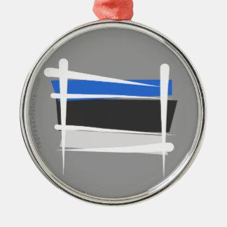 エストニアのブラシの旗 シルバーカラー丸型オーナメント