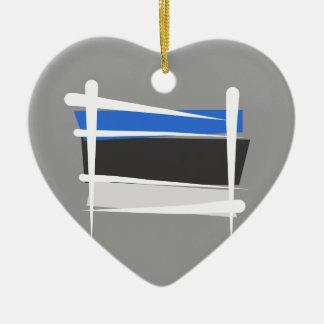 エストニアのブラシの旗 セラミックオーナメント