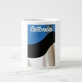 エストニアの国旗旅行ポスター ジャンボコーヒーマグカップ
