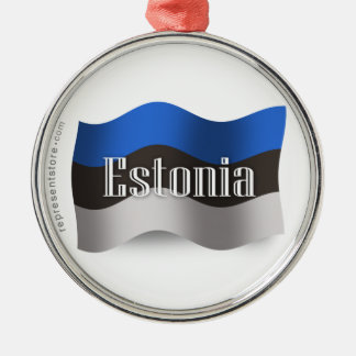 エストニアの振る旗 シルバーカラー丸型オーナメント